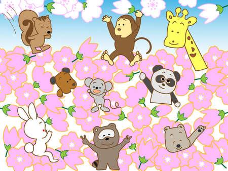 Sakura and animals Vector