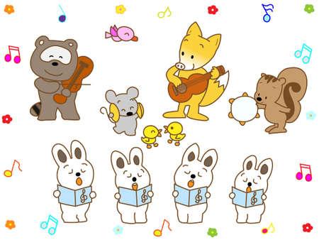 recital: Music recital of animal Illustration