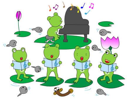 カエルの合唱  イラスト・ベクター素材