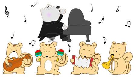 recital: Animal cartoon concert illustration