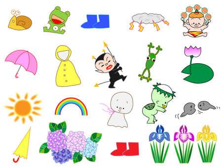 the rainy season: Rainy season of icon Illustration