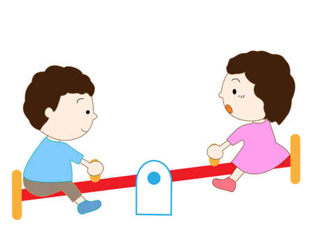fairyland: Children playing in the playground equipment Illustration
