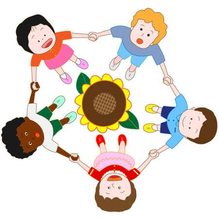 girotondo bambini: Avvento dell'estate Vettoriali