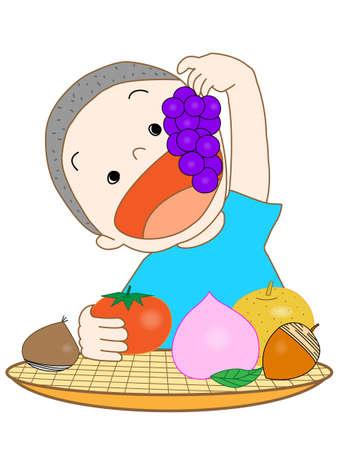 Autumn of appetite  イラスト・ベクター素材