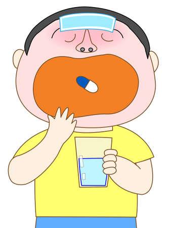 resfriado comun: Ni�o que toma la medicina