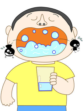 infection prevention: Gargle cartoon
