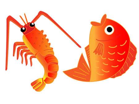 Shrimp and sea bream