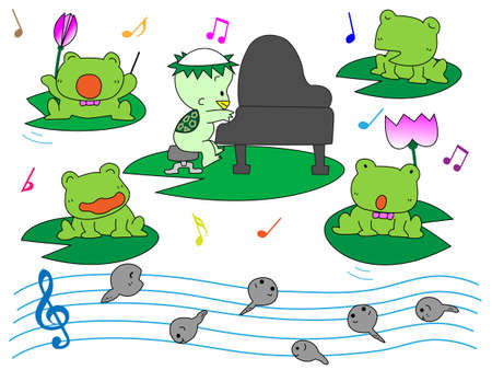 Frog playing Vector