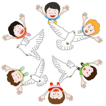 Children who wish for peace Vector