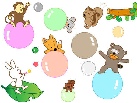 wakaba: animals play Illustration