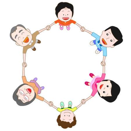 gleeful: family Illustration