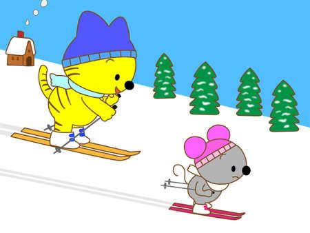 skiing: skiing Illustration