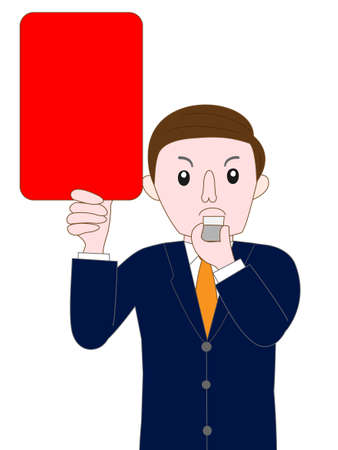 football play: business image showing red card