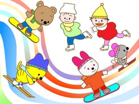 kids at the ski lift: Winter sports