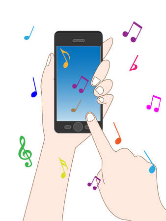 Listen to music on your Smartphone  イラスト・ベクター素材