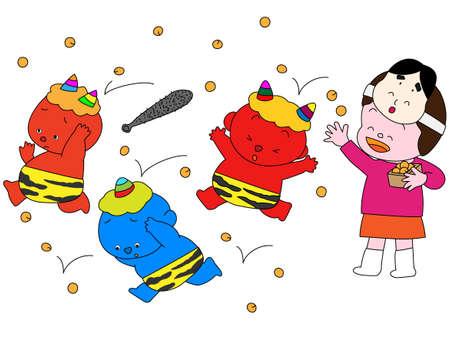2 months: Beanthrowing ceremony at setsubun Illustration