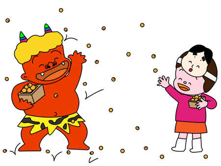 soy bean: Beanthrowing ceremony at setsubun Illustration