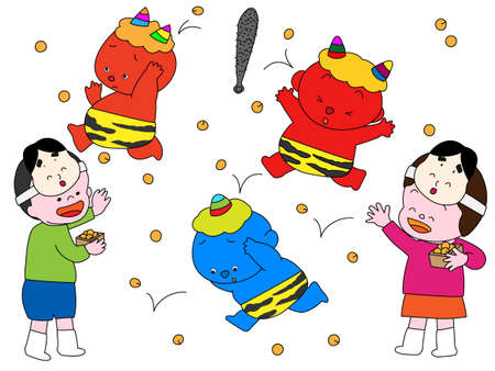 Beanthrowing ceremony at setsubun  イラスト・ベクター素材