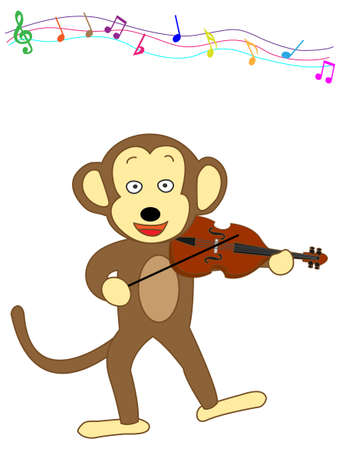 recital: Violin playing monkey