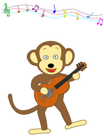 instrument practice: Monkey playing guitar