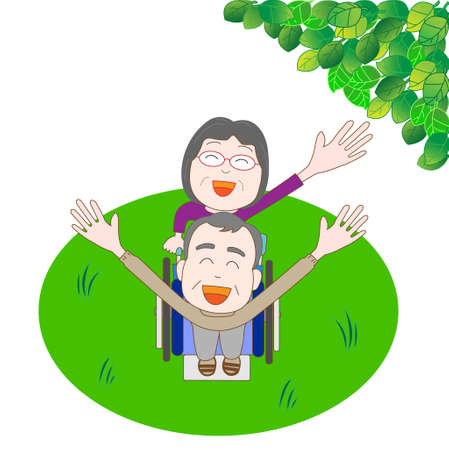 ageing: Bright for the elderly couple Illustration