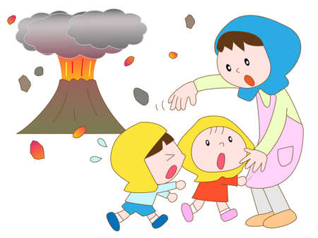 seismic: Emergency evacuation in eruption Illustration