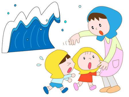 evacuacion: Evacuación de emergencia en el tsunami