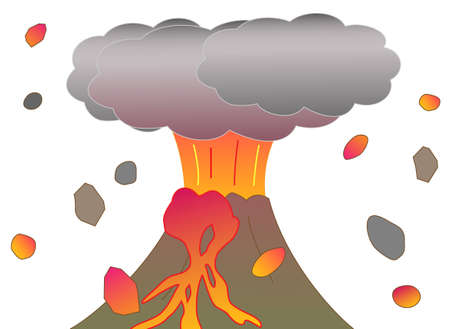 disaster prevention: The eruption of Mountain. Illustration