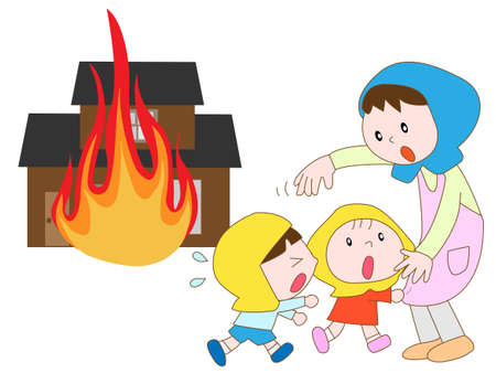 disaster prevention: Amazing fire child Illustration