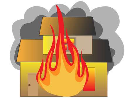 incendio casa: Fuego de la casa Vectores