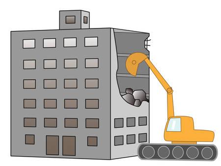 power shovel: Demolition of the building Illustration