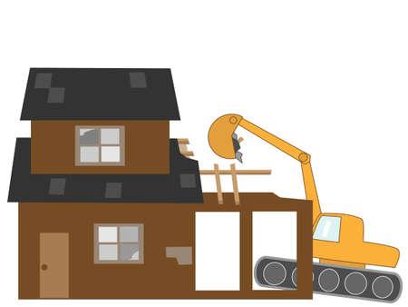 power shovel: Demolition of houses Illustration