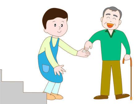 pflegeversicherung: Betreuer, der Altenpflege zu nehmen