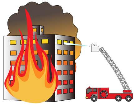gebouw brand Stock Illustratie