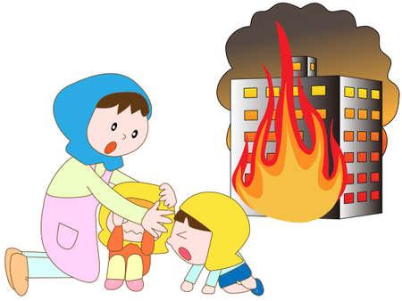 evacuation: En la evacuaci�n de incendio del edificio Vectores
