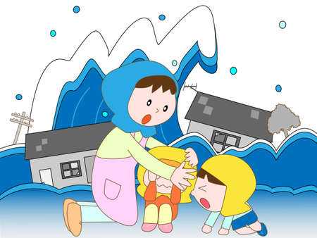 Displaced by the tsunami Illustration