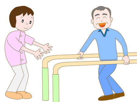 nursing care are for seniors: Senior working hard in rehab Illustration