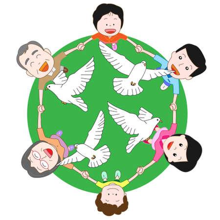 paz mundial: Las familias desean para la paz mundial Vectores