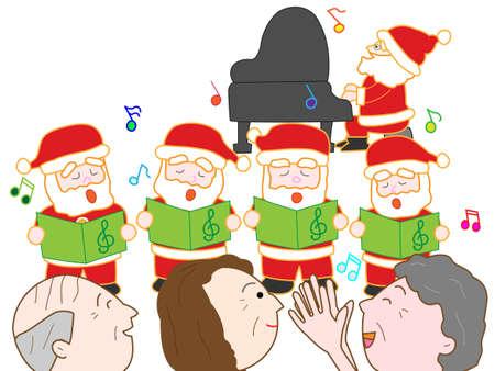 pflegeversicherung: Weihnachtskonzert im Pflegeheim Illustration