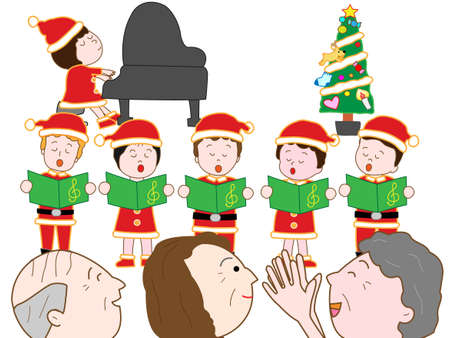 nursing association: Christmas concert at the nursing home Illustration