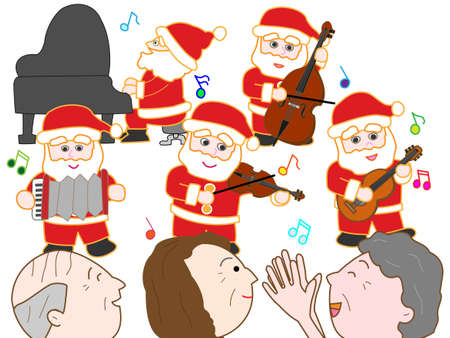 Christmas concert at the facility for the elderly 일러스트