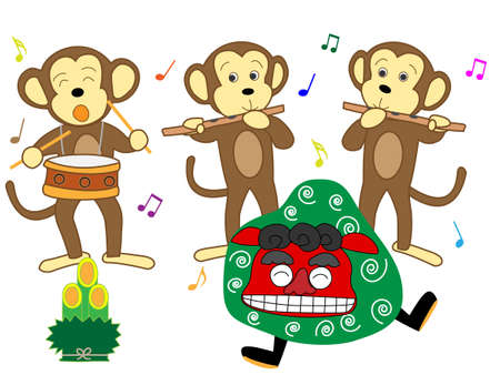 To the accompaniment of the lion dance monkey