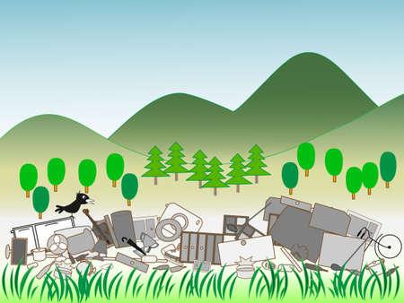 ゴミの不法投棄  イラスト・ベクター素材