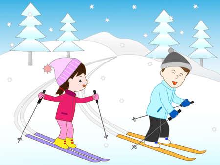 ski slope: Couple skiing Illustration