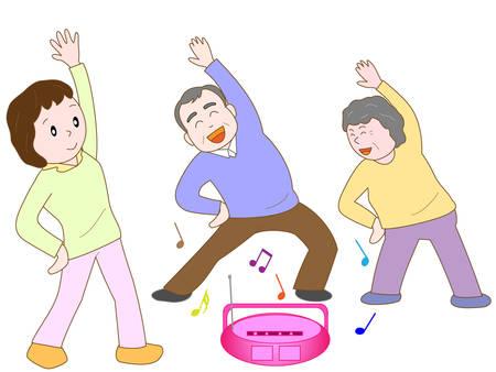 pflegeversicherung: Gesunde Bewegung für ältere Menschen Illustration