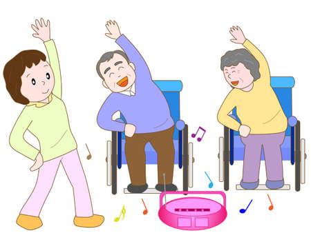 pflegeversicherung: Gesunde Bewegung f�r �ltere Menschen Illustration