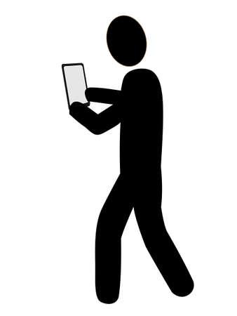 caminando: Icono para los que utilizan teléfonos inteligentes mientras camina Vectores