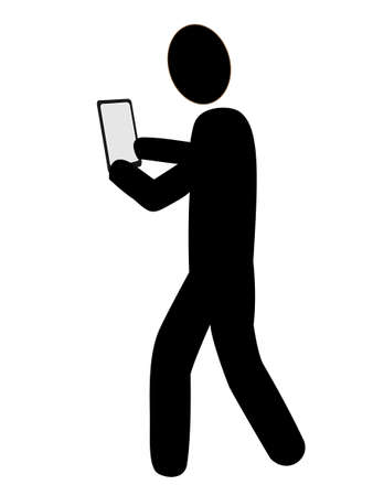 Icoon voor degenen die smartphones gebruiken tijdens het wandelen Stock Illustratie