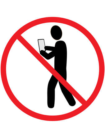 telephone icon: Signs banning people who use Smartphones while walking Illustration
