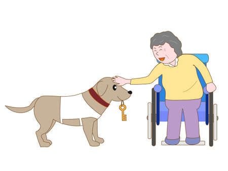 blind dog: Persons with disabilities and service dogs Illustration